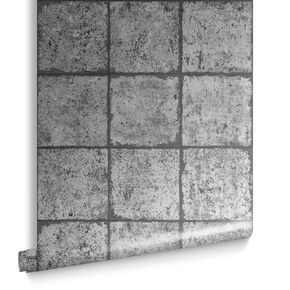 Oxidised Tile Blackened Behang, , large