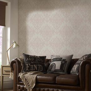 Victorian Damask Rose Gold Wallpaper, , large