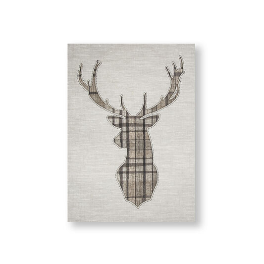Tartan Stag Printed Canvas Wall Art, , large