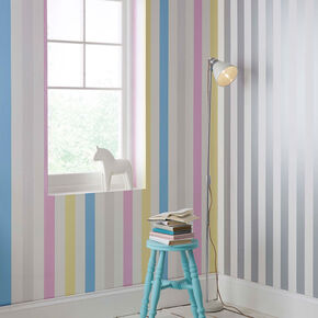 Cotton C&y Stripe Behang, , large