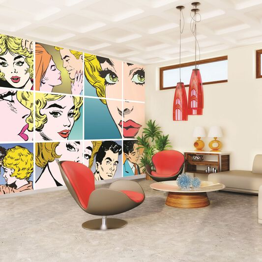Pop Art Wall Ready Made Mural, , large
