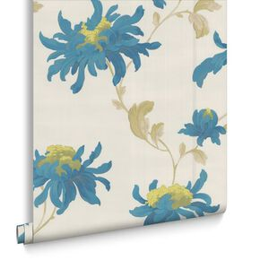 Fabulous Pearl and Teal Wallpaper, , large
