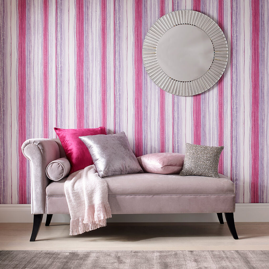 Chelsea Stripe Fuchsia Behang, , large