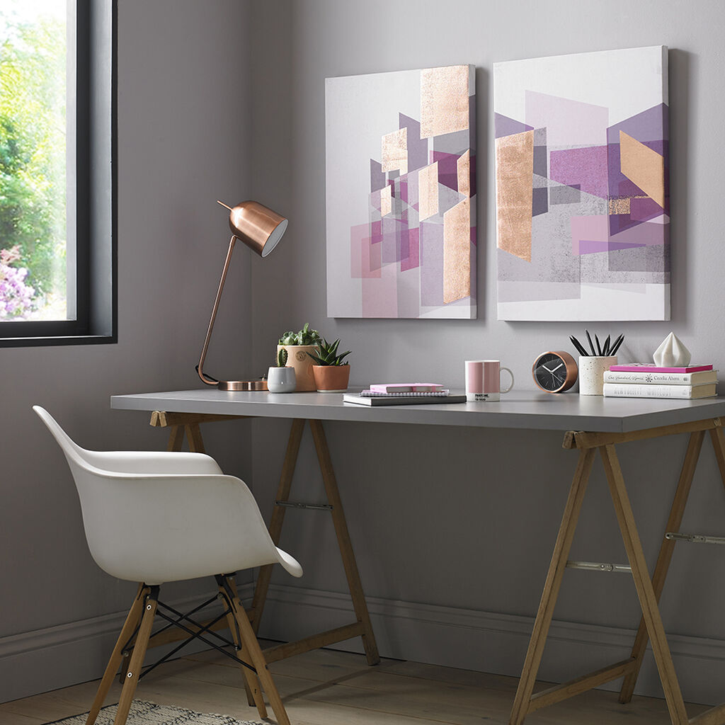 Rose Gold Geos Printed Canvas Wall Art, , large