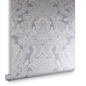 Souk Damask Pewter Wallpaper , , large