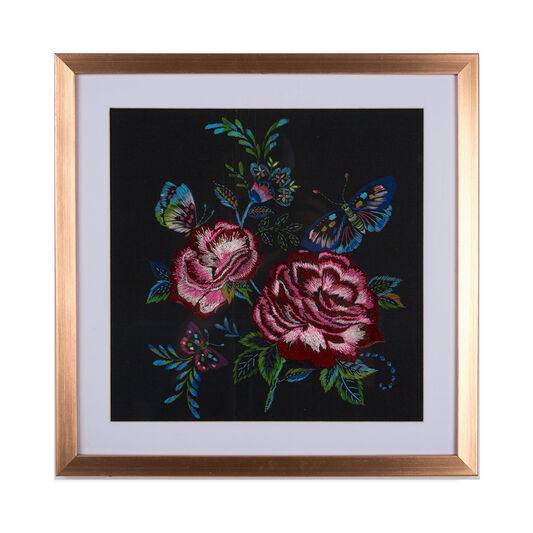 Folk Floral Stitched Framed Wall Art Print, , large