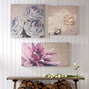 Teal Floral Trio Fabric Canvas Wall Art , , large