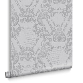 Geo Damask Tapete Grau, , large