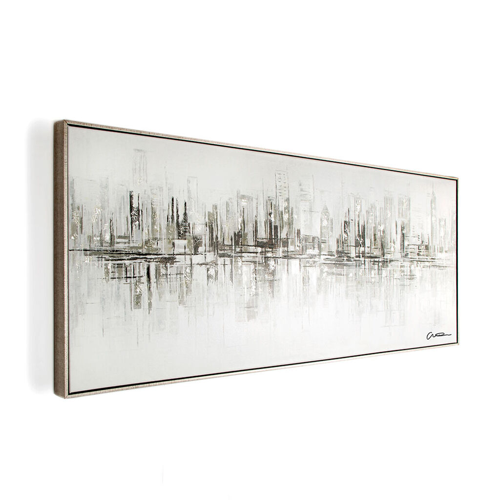 New York Reflections Handpainted Framed Canvas Wall Art, , large