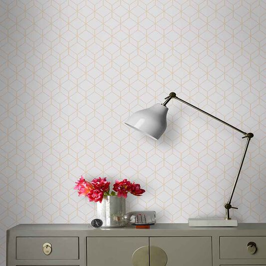 Myrtle Geo Gray Wallpaper, , large