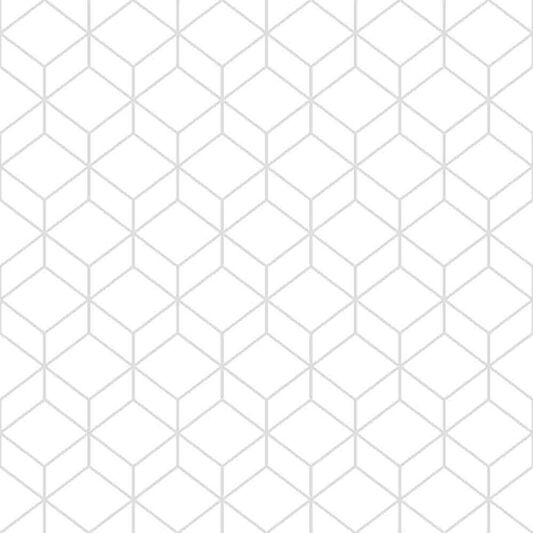 Myrtle Geo White & Silver Wallpaper, , large