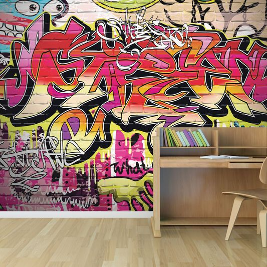 City Graffiti Wall Ready Made Mural, , large