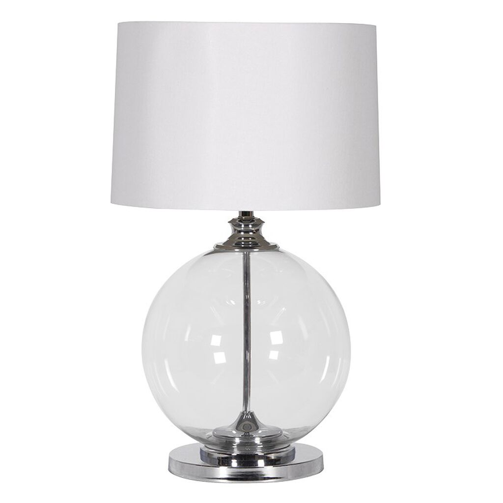 Orb Glass Lamp With White Shade, , large