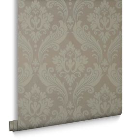 Vintage Flock Taupe Wallpaper, , large
