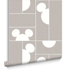 Papier Peint Mickey Mosaic Taupe, , large