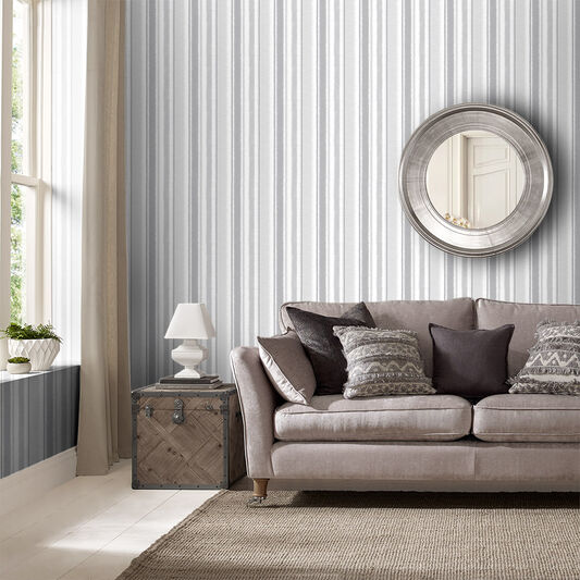 Indian Ink Stripe Grey Mist Wallpaper, , large