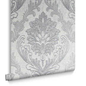 Corsetto Damask Light Silver Wallpaper, , large