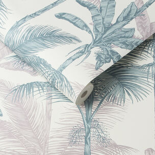 Jungle Blush Green Wallpaper, , large