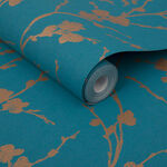 Meiying Teal Wallpaper