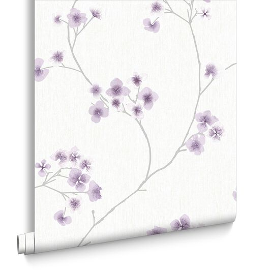 Radiance White and Lavender Wallpaper, , large