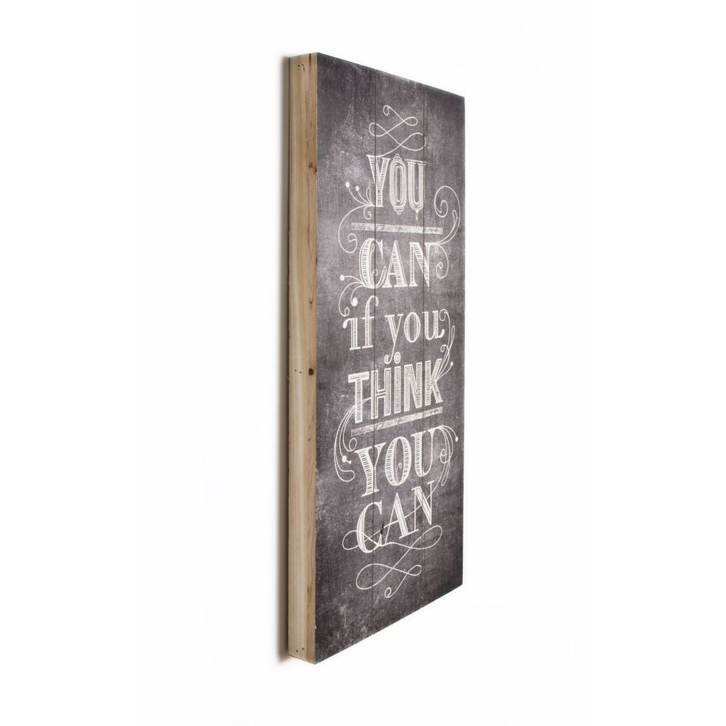 You Can Think Impression On Wood Wall Art, , large