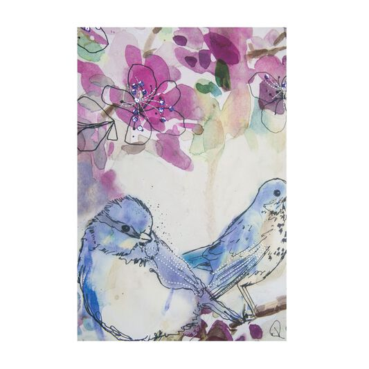 Toile Imprimée Stitched Spring Birds, , large