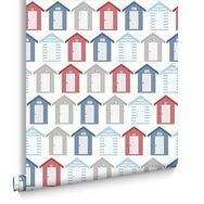 Beside The Seaside Red Blue and White Wallpaper, , large