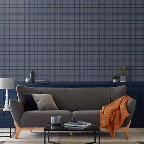 Heritage Plaid Blue Wallpaper, , large