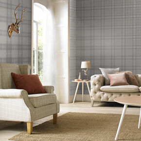 Tartan Silver Wallpaper, , large
