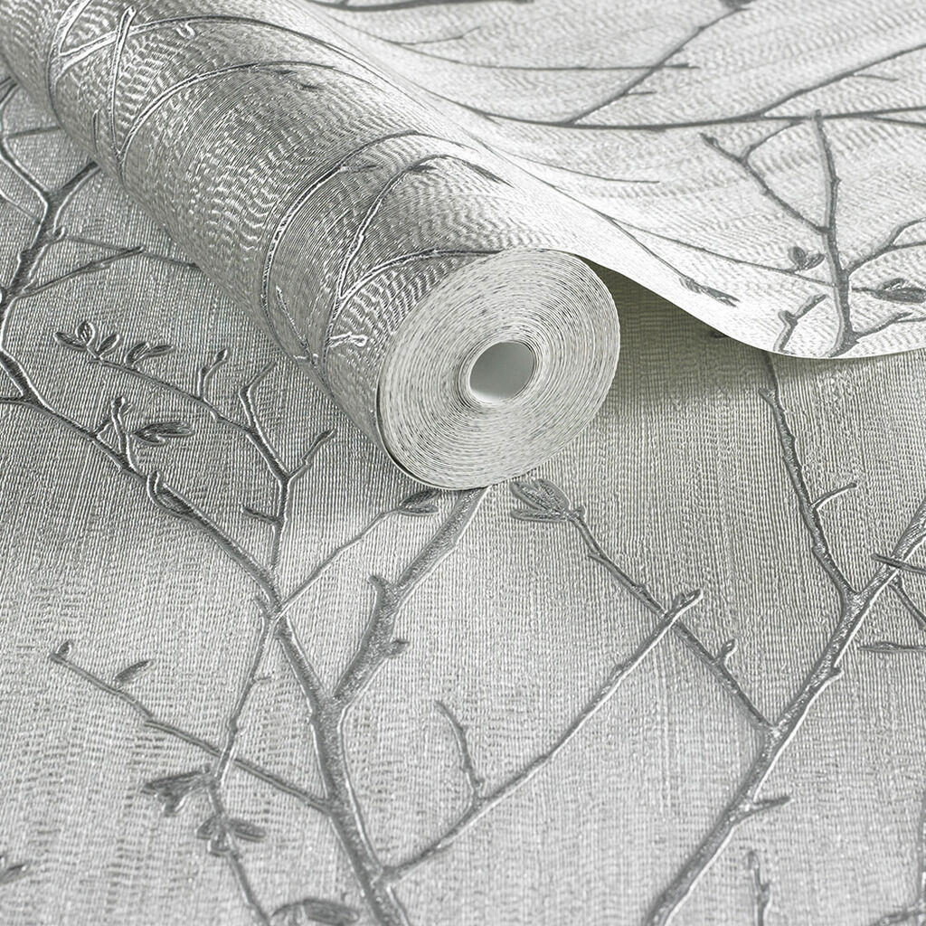 Water Silk Sprig Light Silver Wallpaper, , large