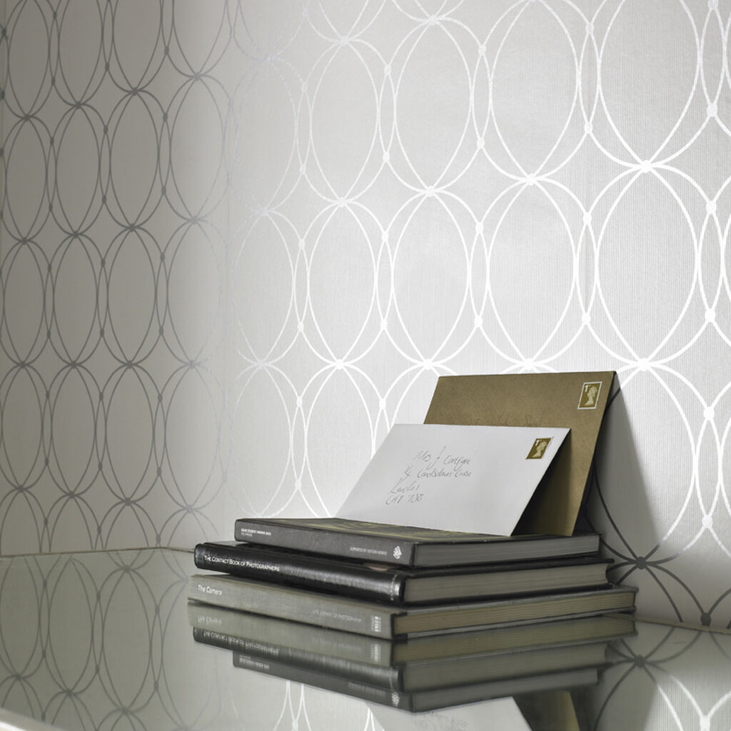 Darcy White and Silver Wallpaper, , large