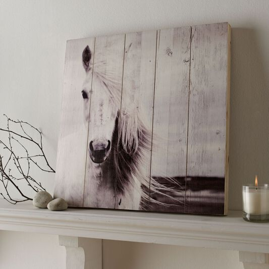 Horse Print On Wood Wall Art, , large