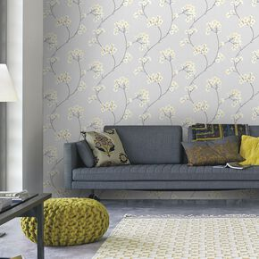 Radiance Gray and Ochre Wallpaper , , large