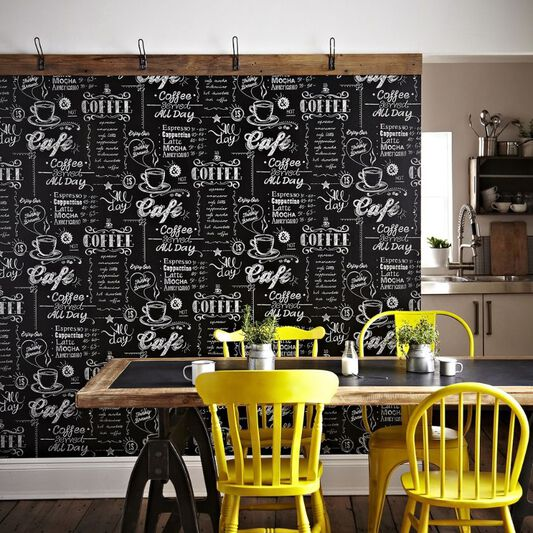 Coffee Shop Black and White Wallpaper | Black Wallpaper ...