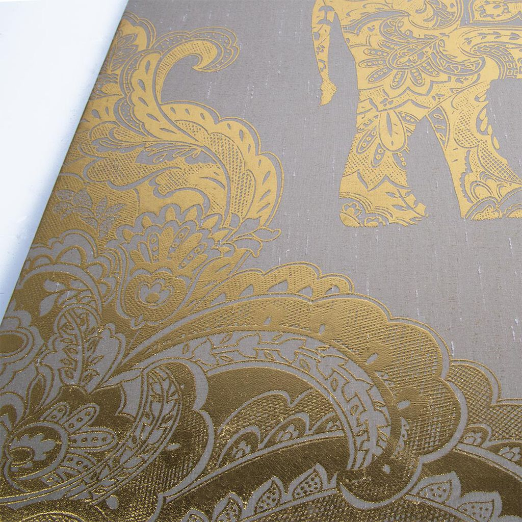 Golden Henna Elephant Fabric Canvas Wall Art, , large