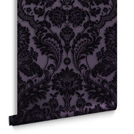 Gothic Damask Plum Wallpaper, , large