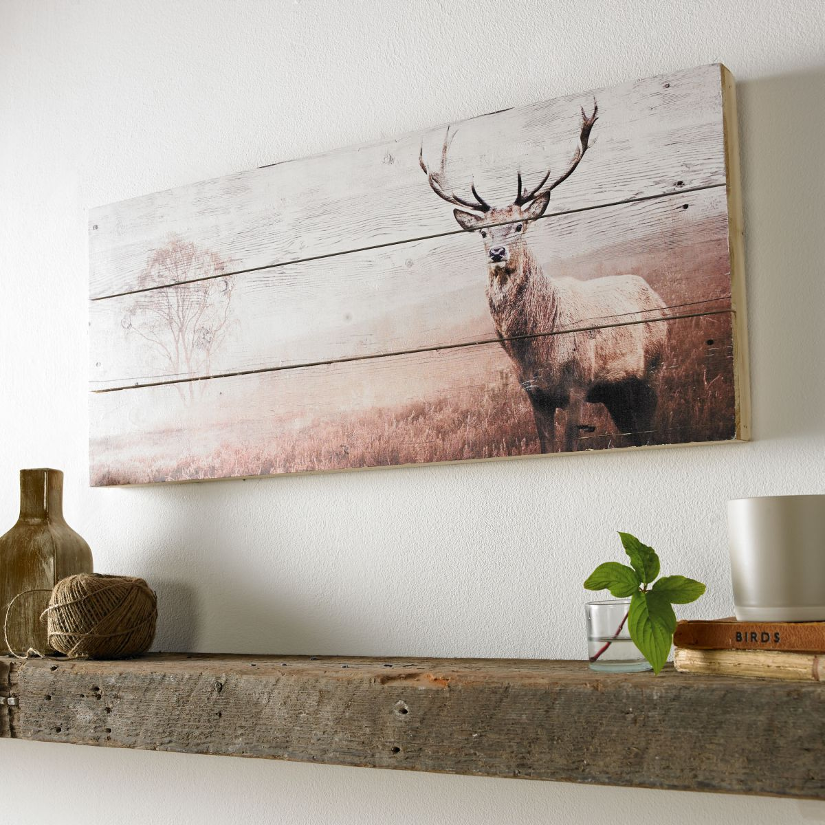 ... Large Stag Print On Wood Wall Art, ...
