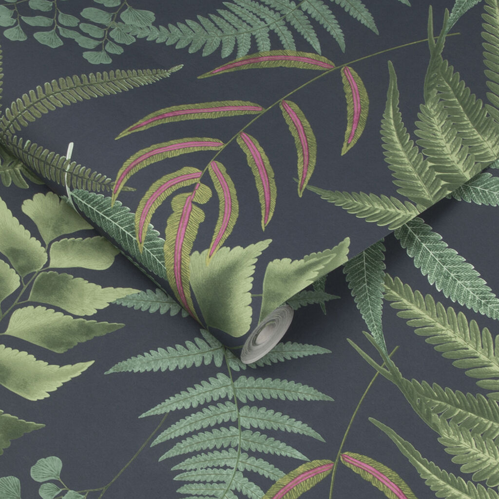 Midsummer Fern Navy Wallpaper, , large
