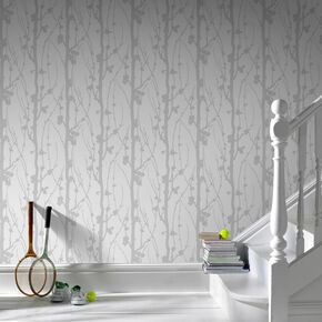 Solitude Glitter Silver & White Wallpaper, , large
