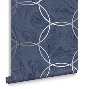 Aqueous Geo Cobalt Wallpaper, , large