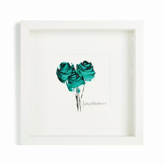 Sally Mackness Green Roses Hand Painted Framed Wall Art, , large