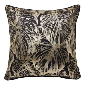 Tropical Leaves Black & Gold Cushion, , large