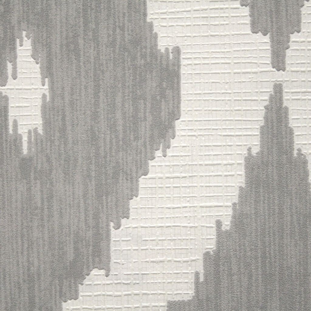 Kelly's Ikat White and Soft Gray Wallpaper , , large