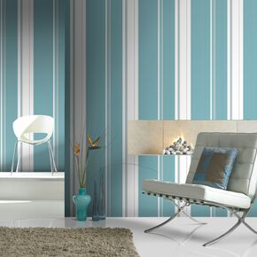 Gradient Stripe Teal Wallpaper, , large