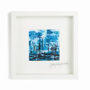 Sally Mackness Blue Harbour Boats Hand Painted Framed Wall Art, , large