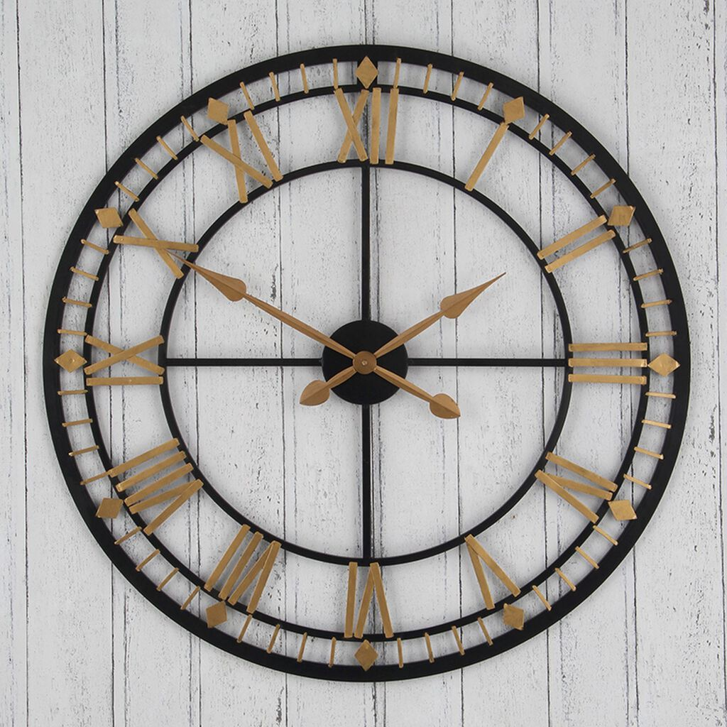 Black and Gold Oversized Wall Clock, , large