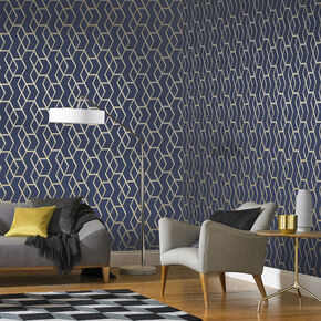 Archetype Navy & Gold Wallpaper, , large