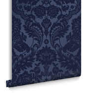 Gothic Damask Flock Colbalt Behang, , large
