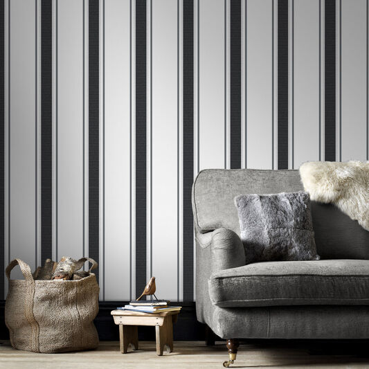 Orla Grey and Silver Wallpaper, , large