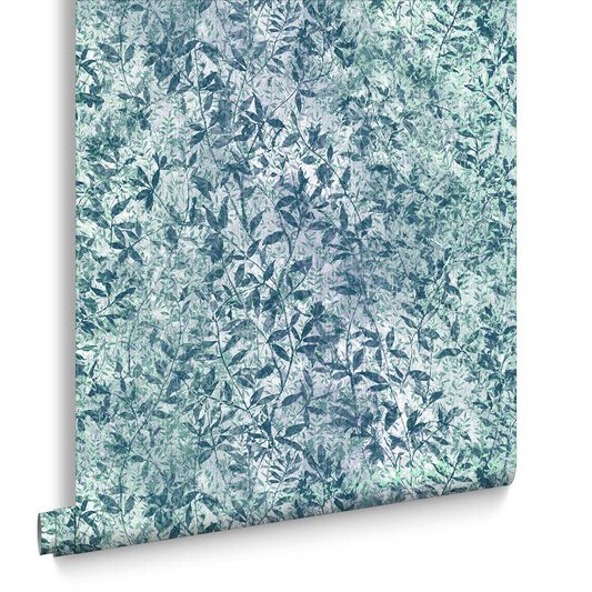 Botany Iridescent Midnight Blue Wallpaper, , large